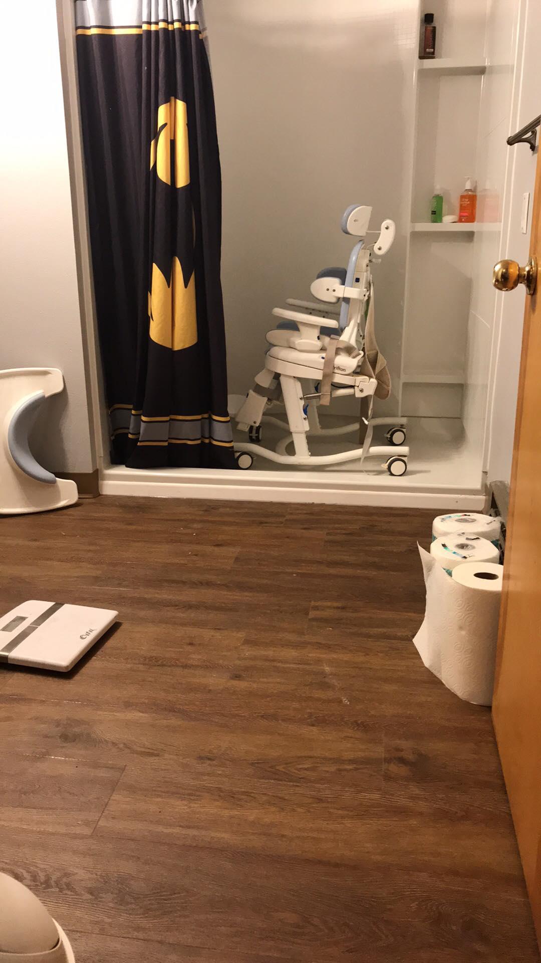 New Floors in Gabe's Bathroom, too!
