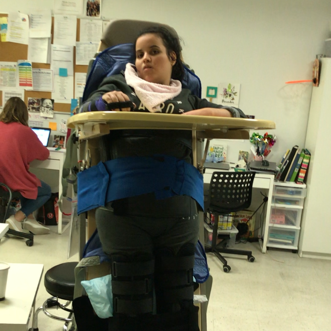Maria situated inside of her new stander from Holton's Heroes.