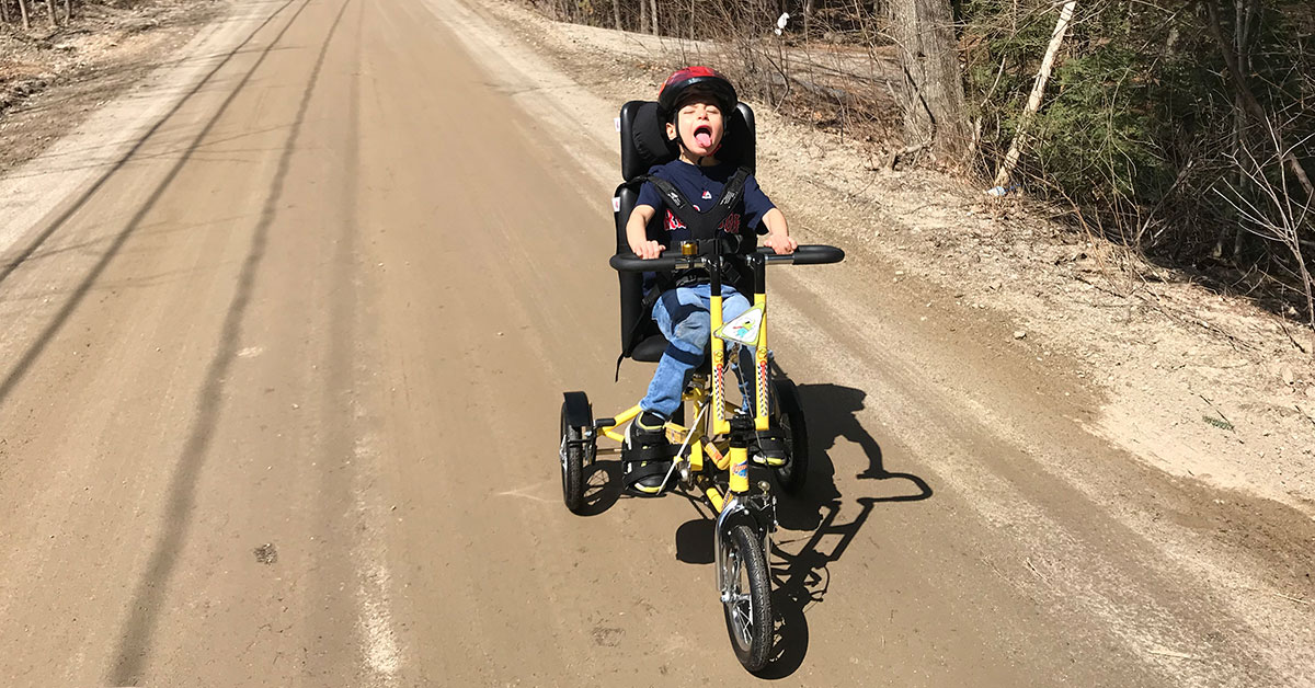 """Noah gets a taste of """"Freedom"""" as he takes his brand new Freedom Concepts bike for a spin around his neighborhood."""
