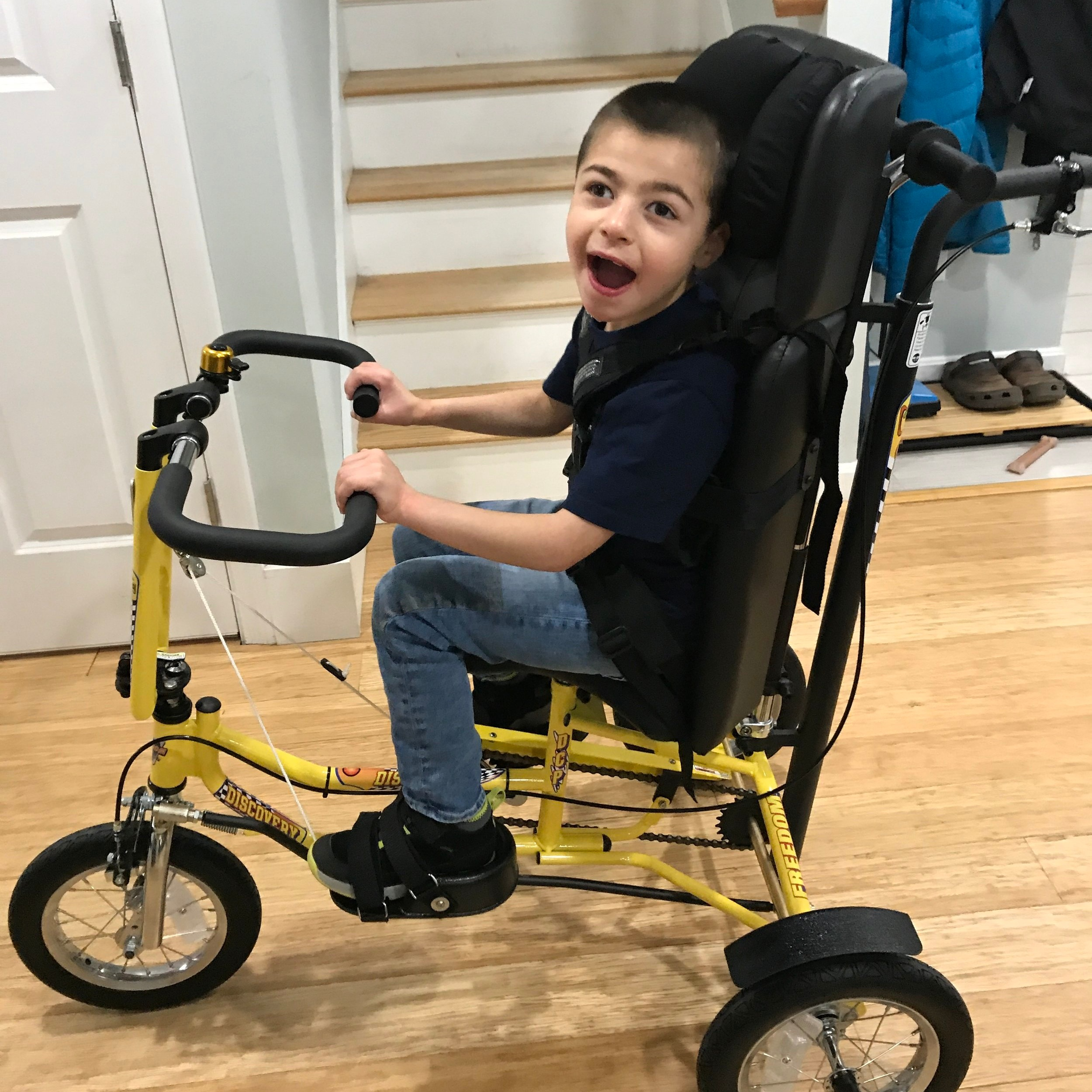 Noah's excited to finally get into his new set of wheels!