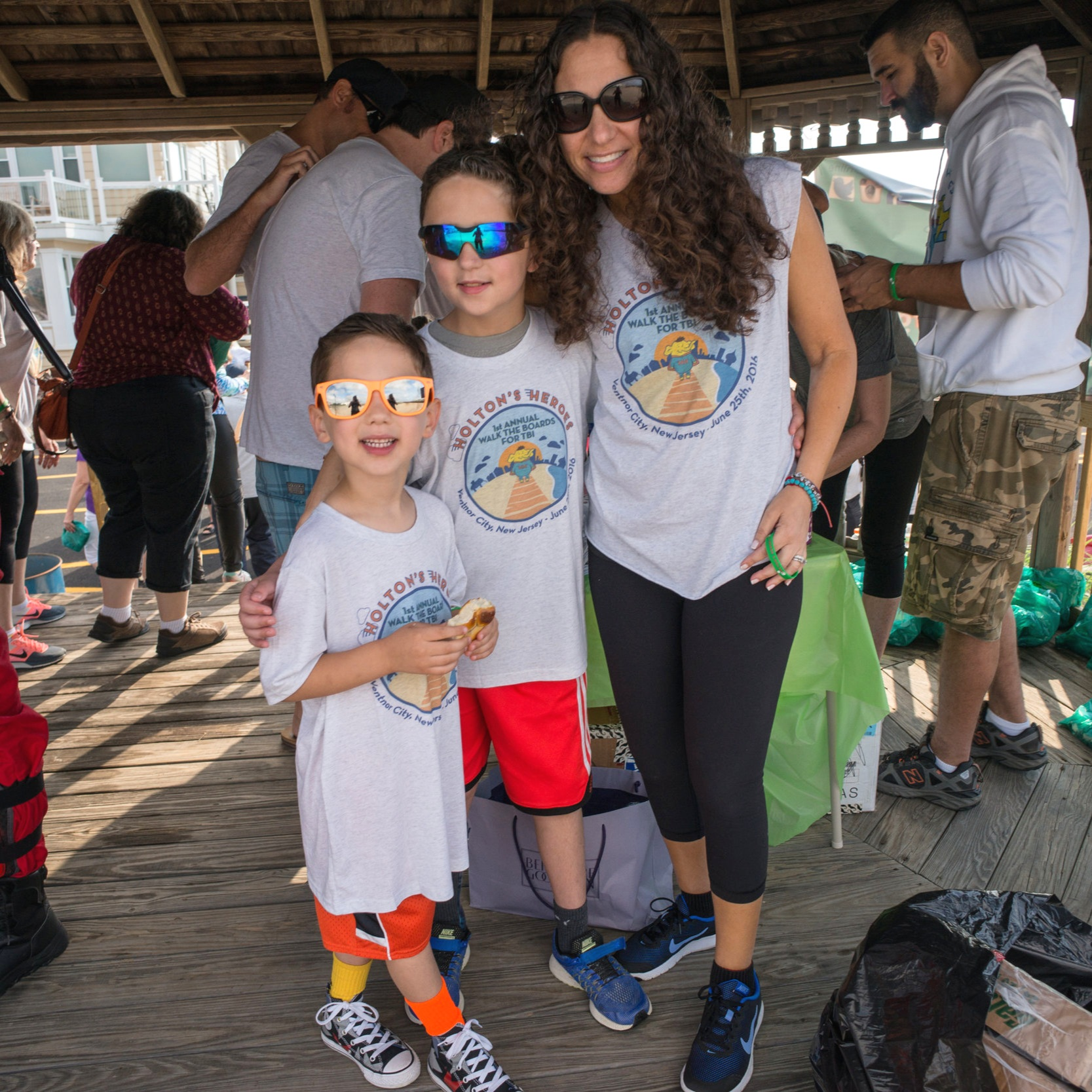 Chase (middle) poses with his mom Wendi and little brother Mason at the 1st annual Holton's Heroes charity walk in Ventnor City, NJ in 2016.