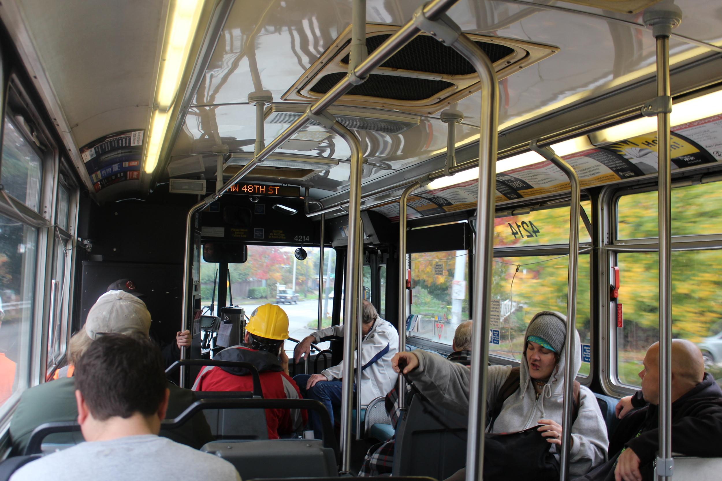 Bus local à Seattle: les deux à droite étaient en plein discussion sur le régime sans glucides, c'était assez marrant :D