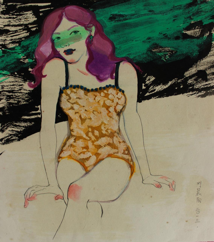 """""""Girl 2"""" Ink 50 x 38 cm (framed) 2013"""