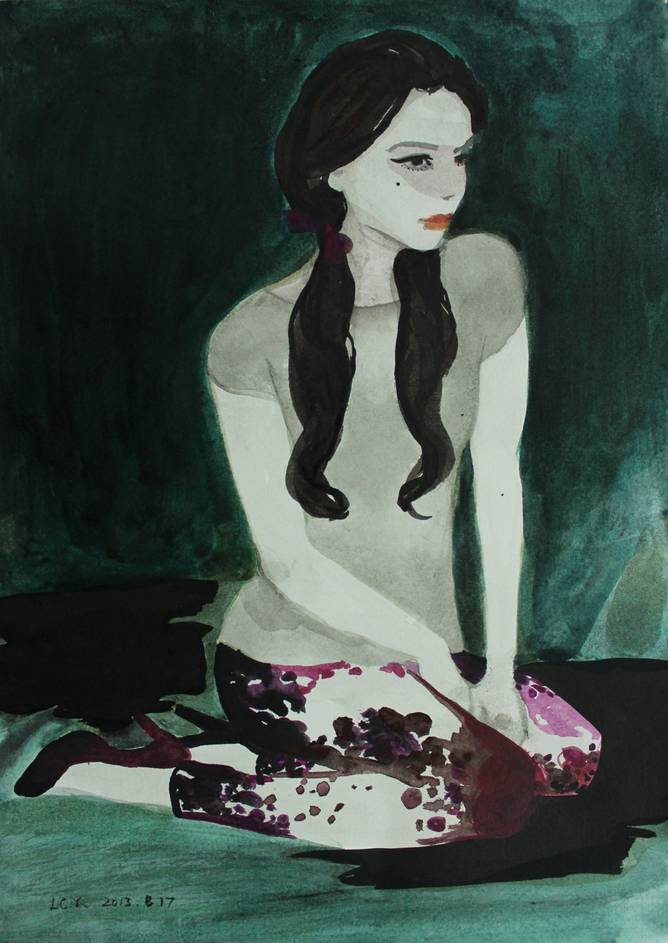 """""""Girl 3"""" Ink 50 x 38 cm (framed) 2013"""