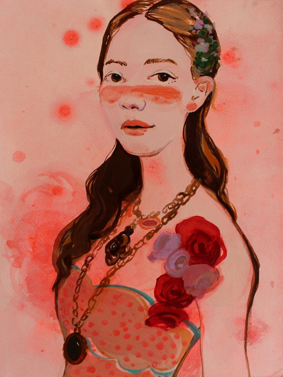 """""""Girl 1"""" Ink 50 x 38 cm (framed) 2013"""