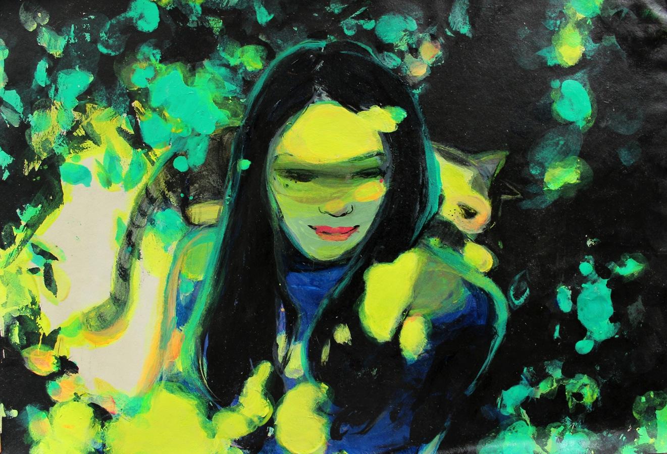 """""""Girl 5"""" Acrylic 50 x 38 cm (framed) 2013"""