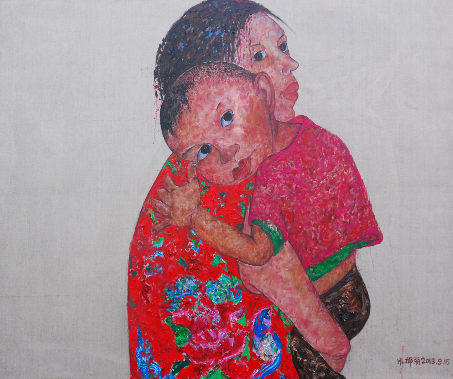 """The mother and son"" Oil on Canvas 190 x 150 cm 2013"