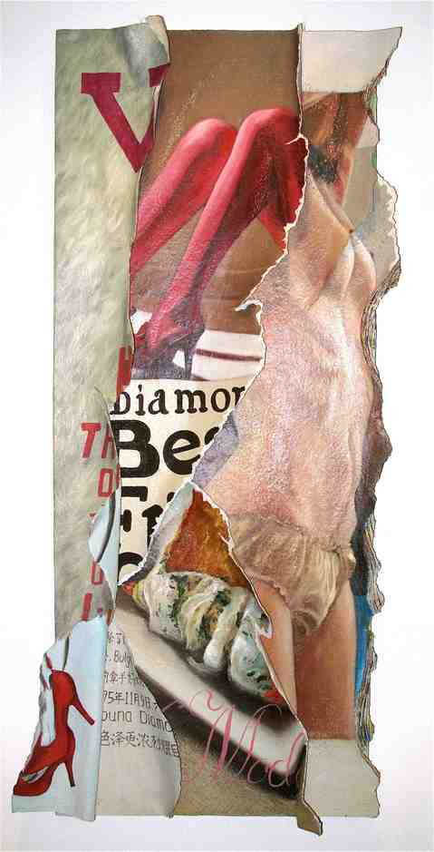 """""""Transience – lifestyle""""   Mixed media on Canvas   60 x 150 cm   2011"""