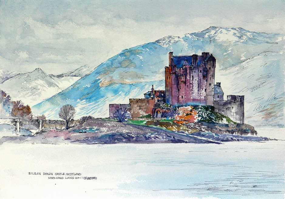 """Eilean Donan castle 1, Scotland""   Water colour   40 x 30 cm   2011"