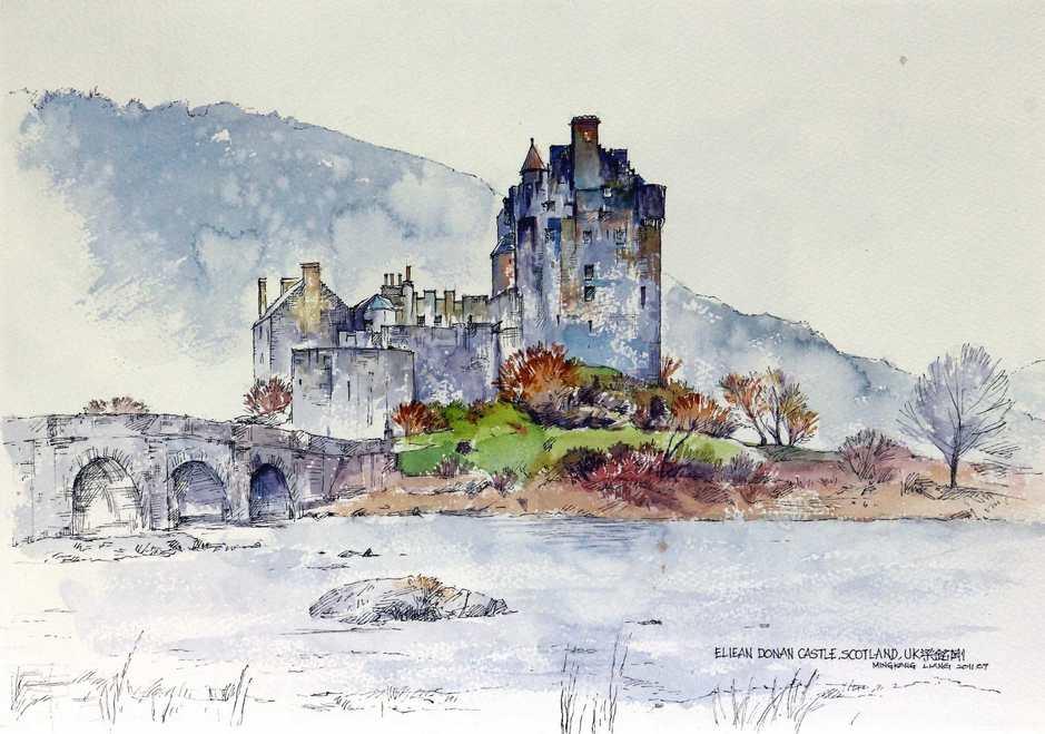 """Eilean Donan castle 2, Scotland""   Water colour   40 x 30 cm   2011"
