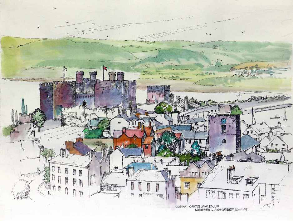 """Conwy castle, Wales""   Water colour   40 x 30 cm   2011"