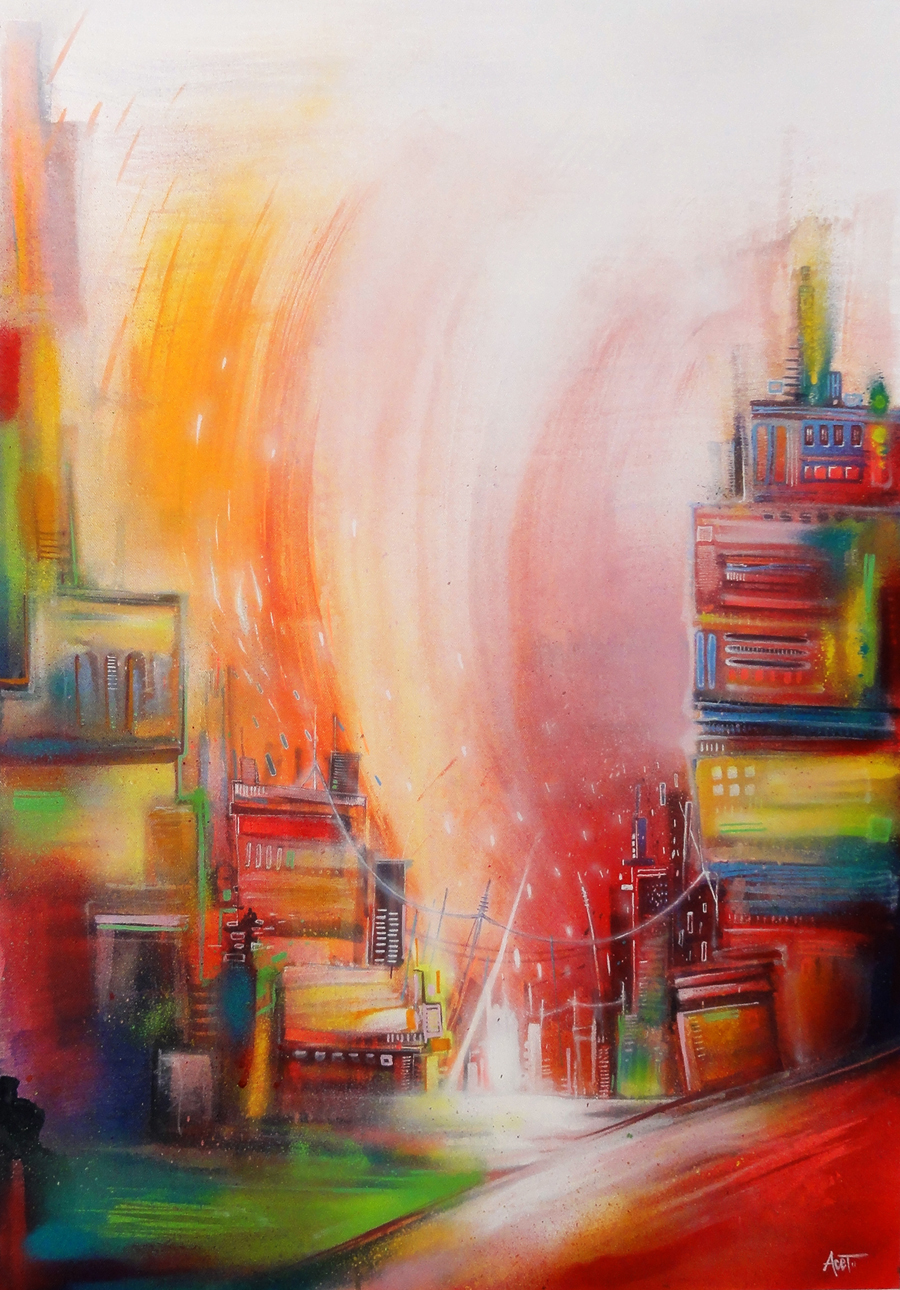 """Citycolors"" Acrylic & Spray 65 x 92 cm 2013"