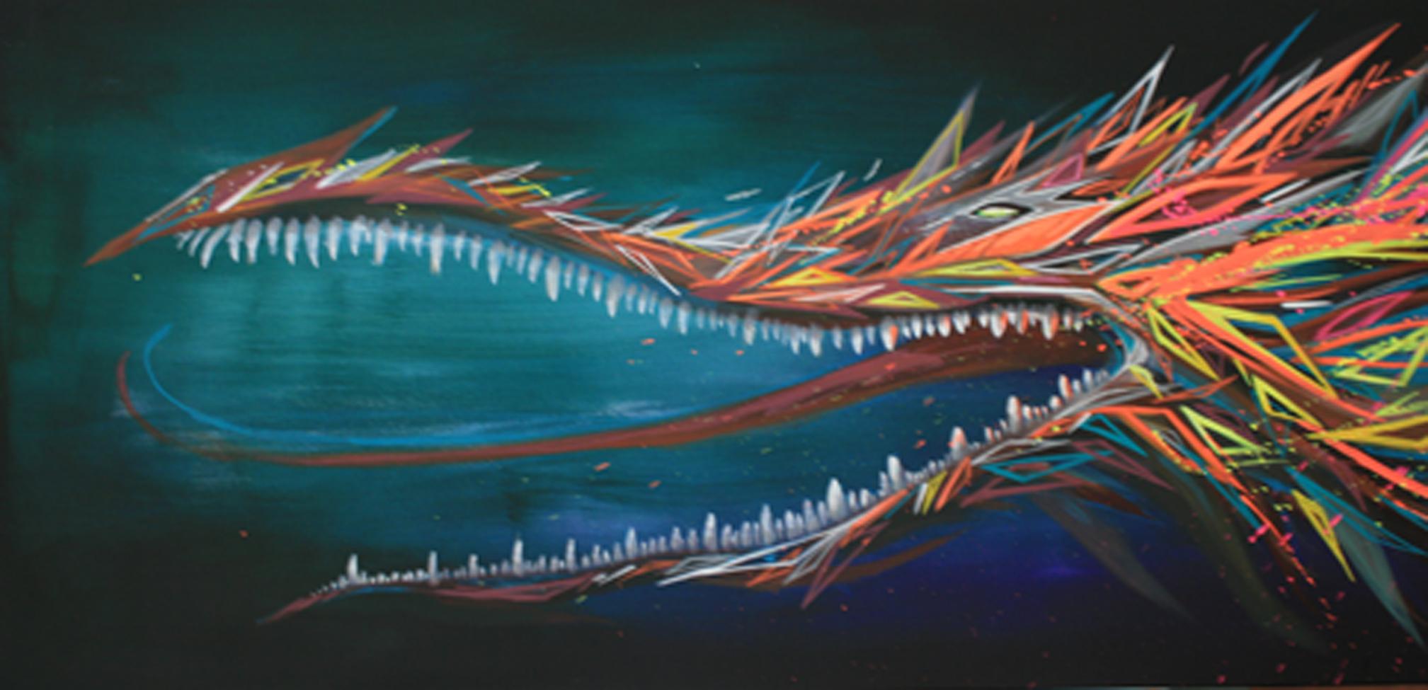"""Dragon"" Acrylic, Fluorescent Paint & Spray (Artwork turns glow with UV or black light) 50 x 300 cm 2013"