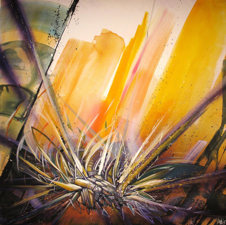 """""""Light"""" Acrylic & Spray 80 x 80 cm 2013"""