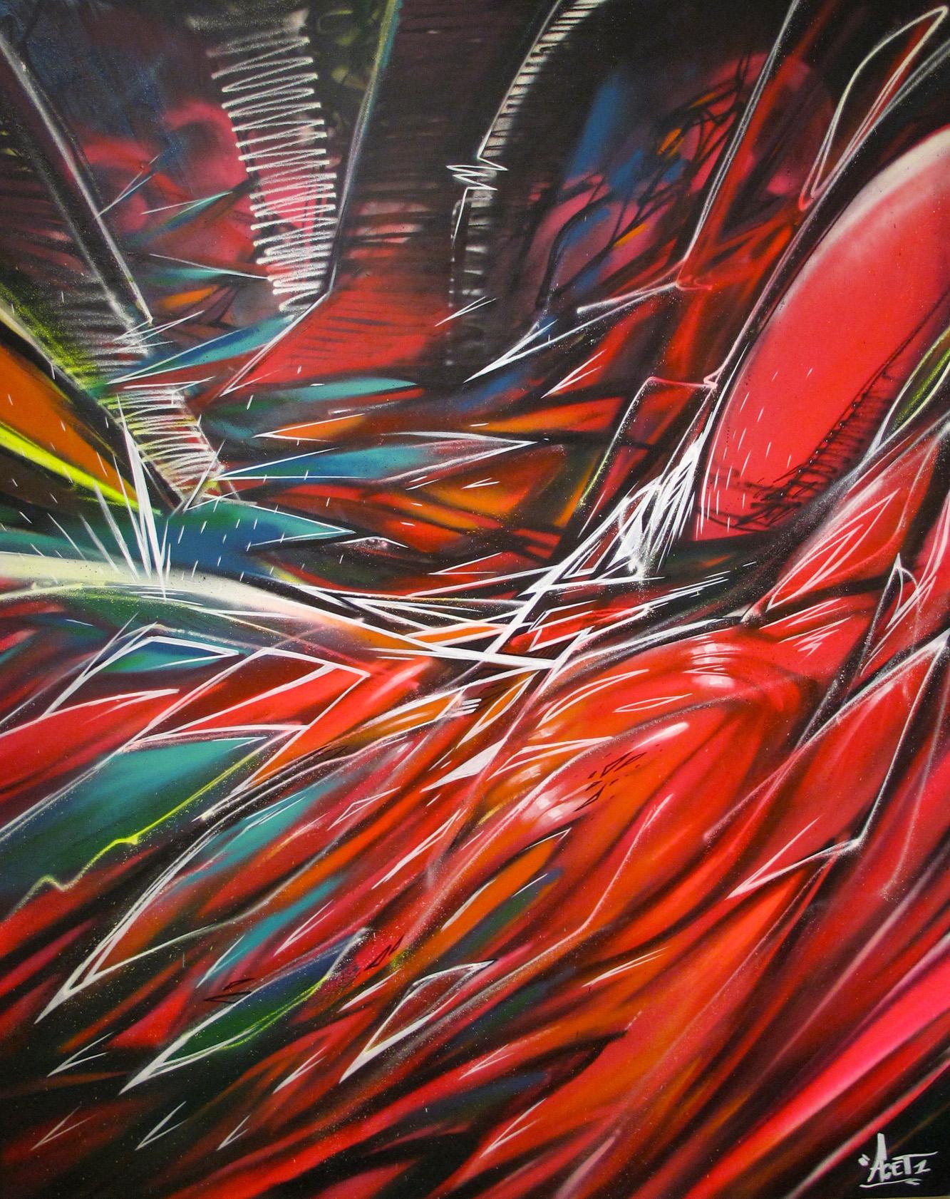 """""""Urban jungle"""" Acrylic & Spray 122 x 152 cm 2013"""