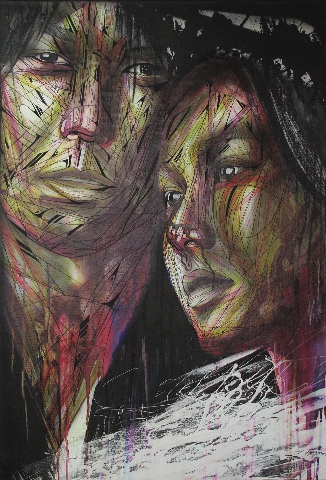 """Couple"" Spray/Ink 70 x 100 cm 2013"