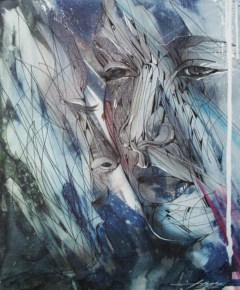"""""""Visage d'eau"""" Acrylic/ink 54 x 46 cm 2014"""