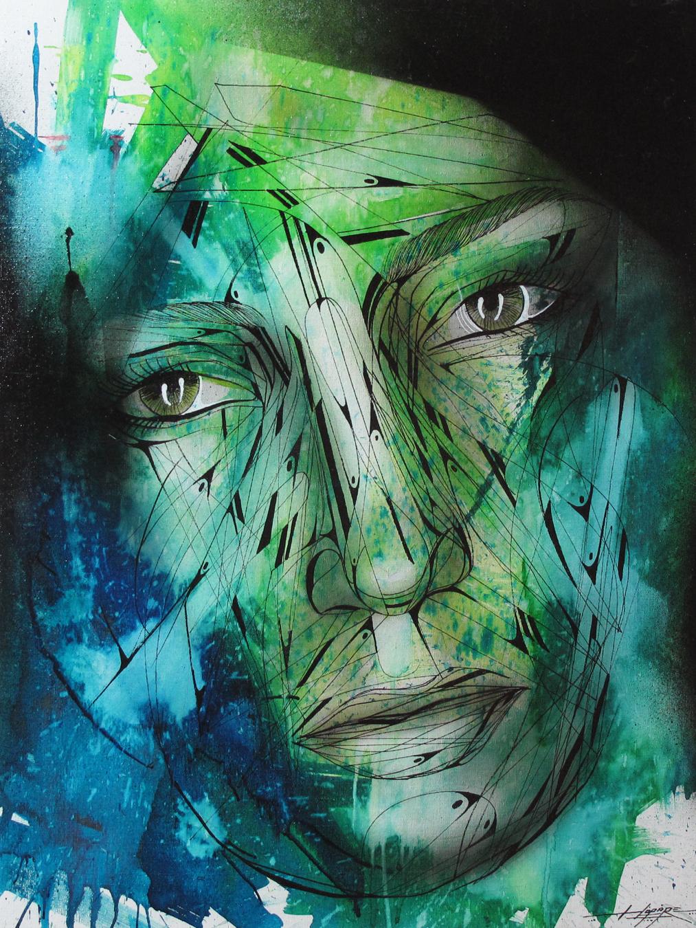 """""""Un soir de pluie"""" Spray/Ink 70 x 60 cm 2013"""