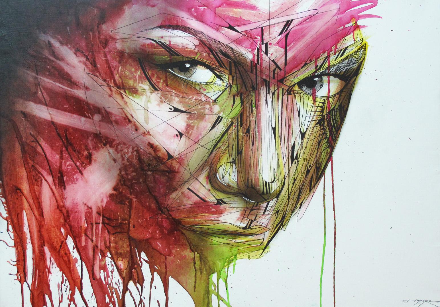 """""""Charme"""" Spray/Ink 70 x 100 cm 2014"""