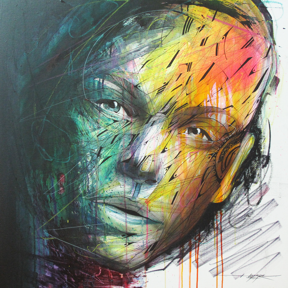 """Visage d'O"" Spray/Ink/Acrylic 100 x 100 2013"