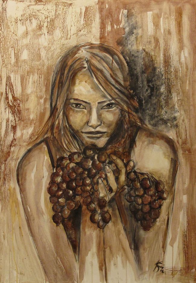 """The Offer""    Wine on Canvas    Wine used: Sangiovese + Cabernet + Shyrah   70 x 100 cm    2011"