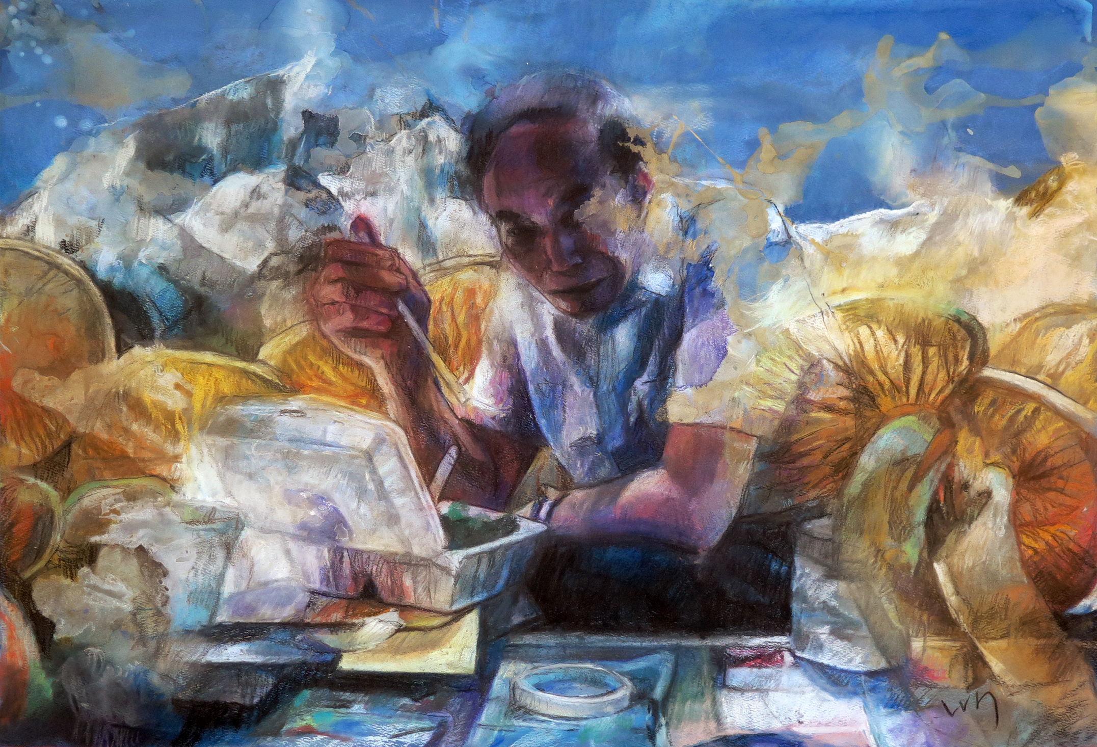 """""""I know a great desk where we can have lunch today"""" Pastel/Watercolor on paper 76 x 51 cm (unframed) / 77 x 55 cm (framed) 2015"""