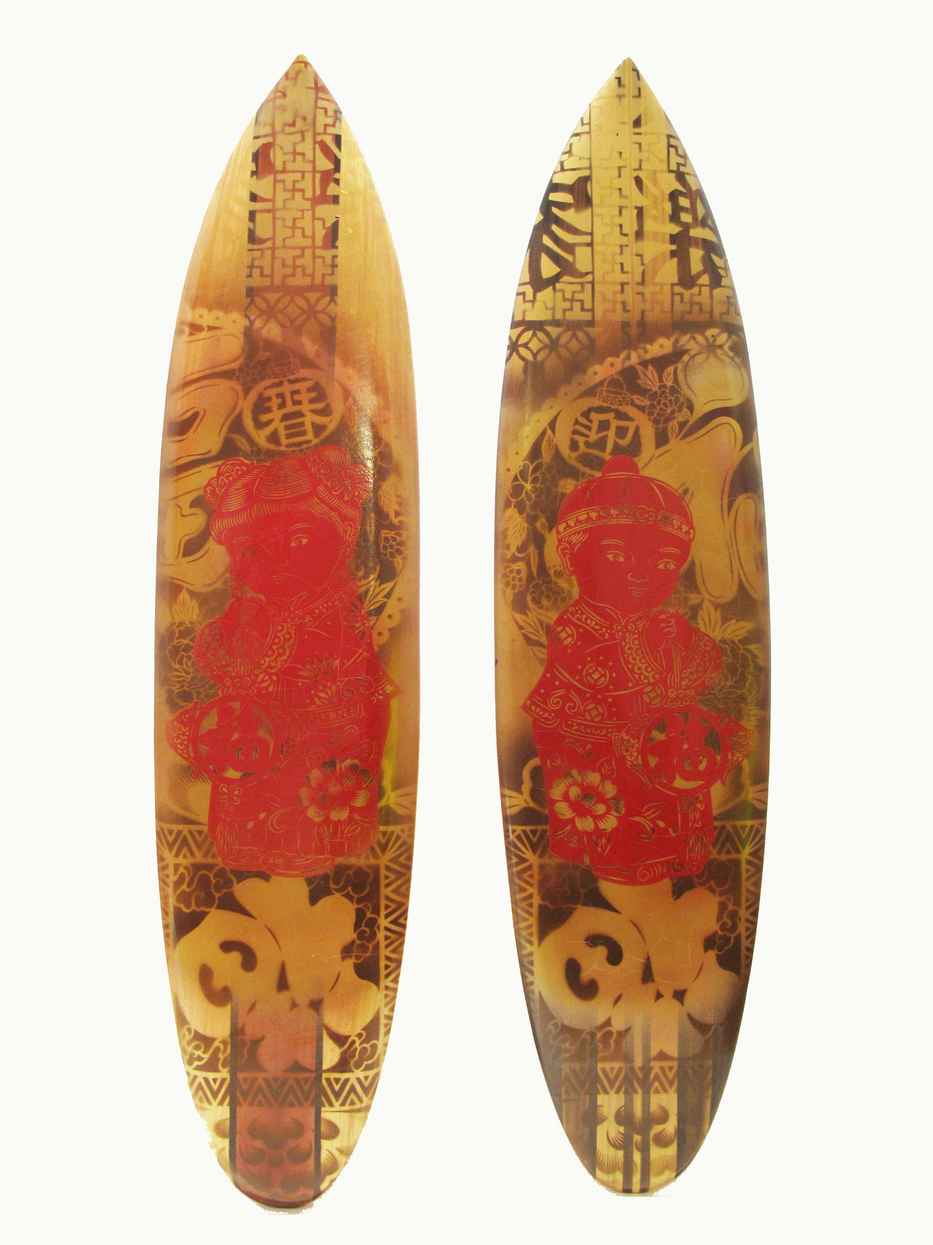 """Good Luck"" Mixed media on 2 surfboards (Bali timber) 2 x 25 x 100 cm 2013"
