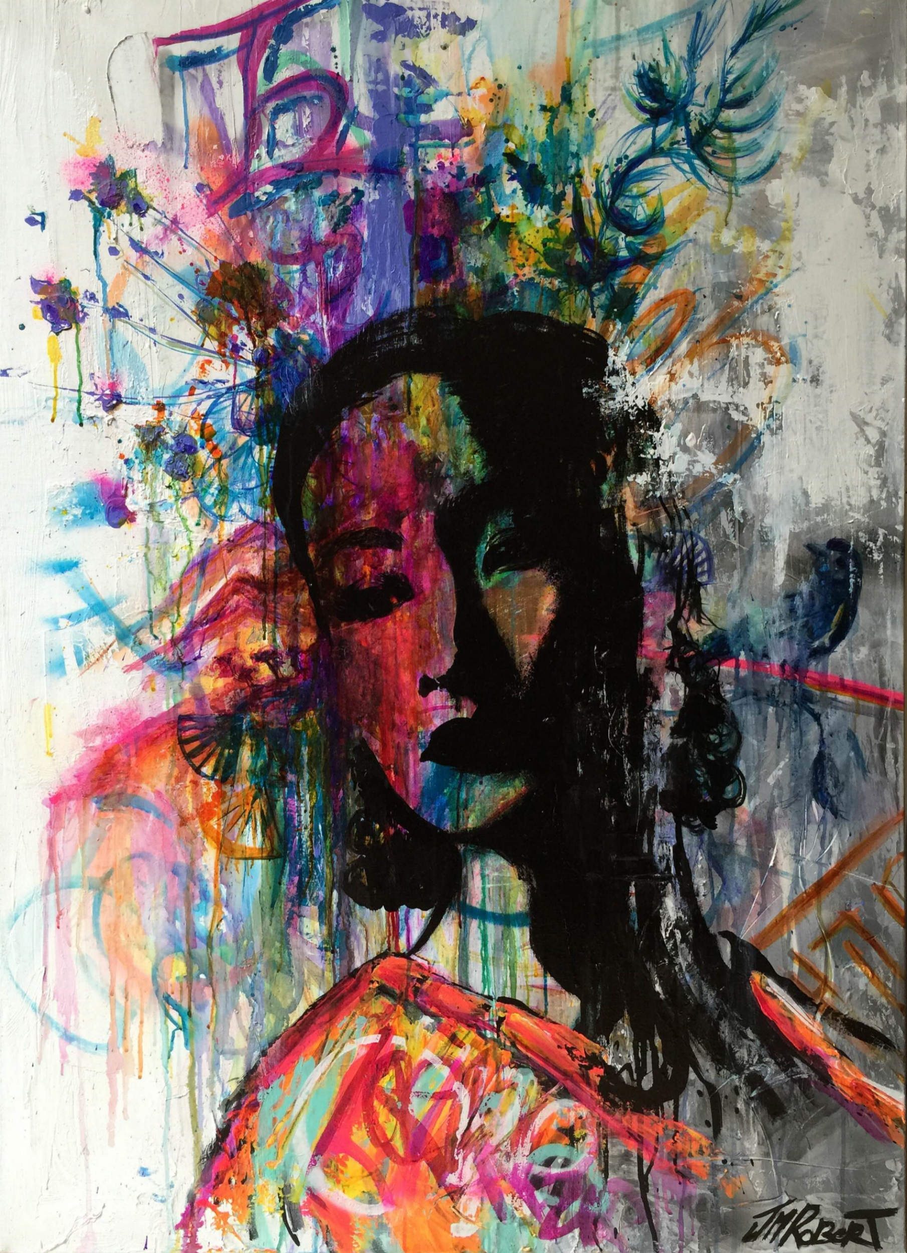 """Elle se souvient de son enface"" / ""She remembers her childhood"" Spray, Ink, Acrylic 116 x 81 cm 2015"