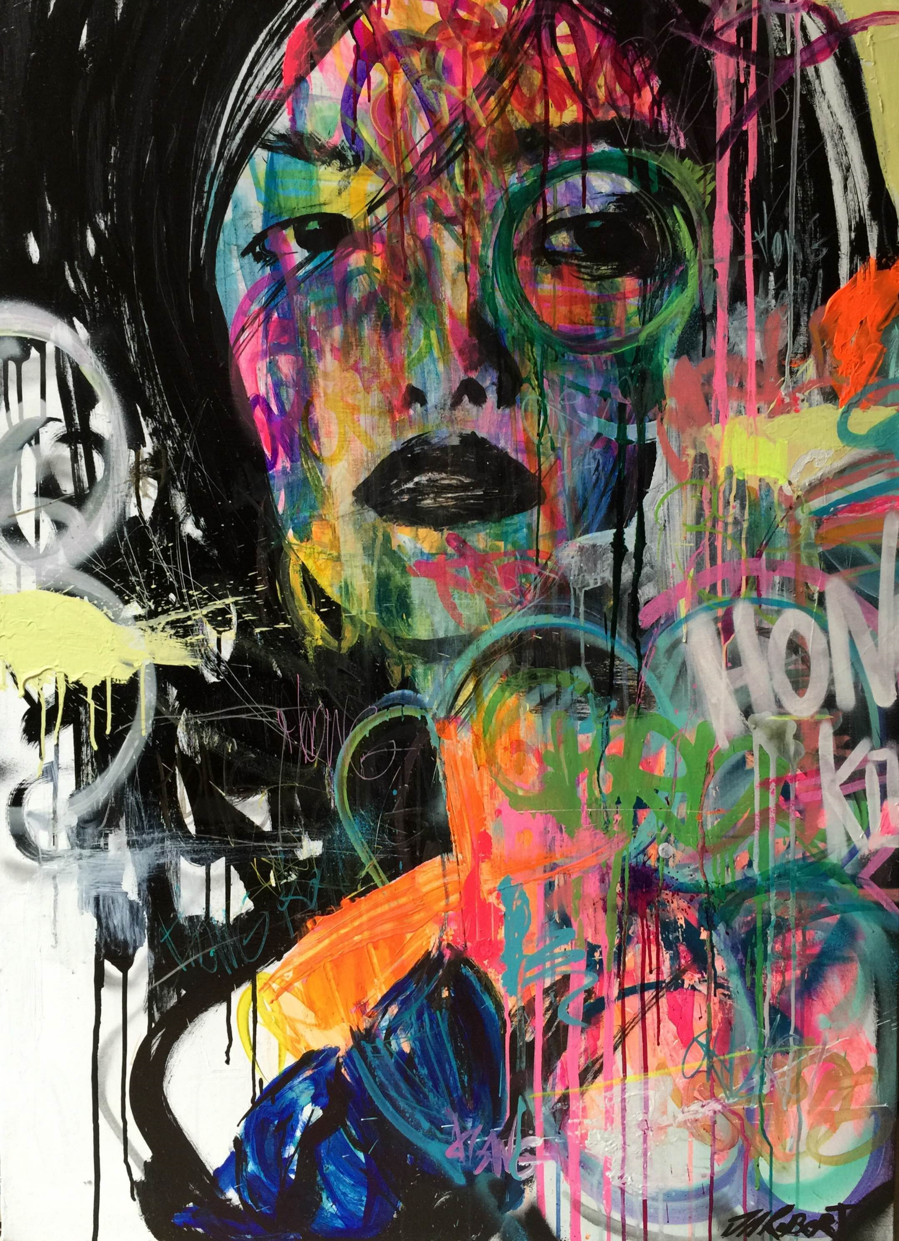 """Que regarde t'elle?"" / ""What is she looking? Spray, Ink, Acrylic 116 x 81 cm 2015"