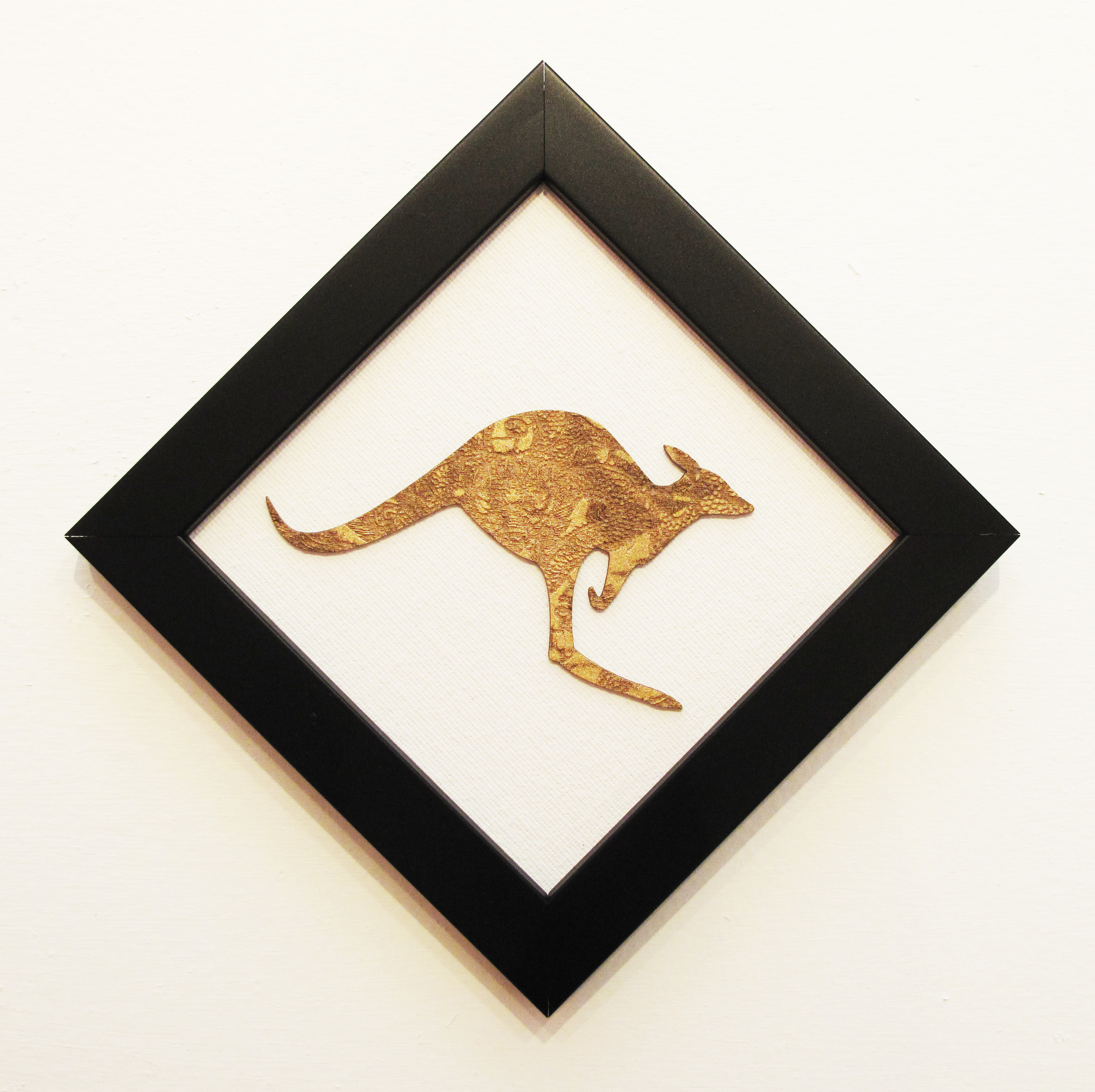 """Tinyroo""  Laser Cut Board on Canvas  2015  14 cm x 14 cm"