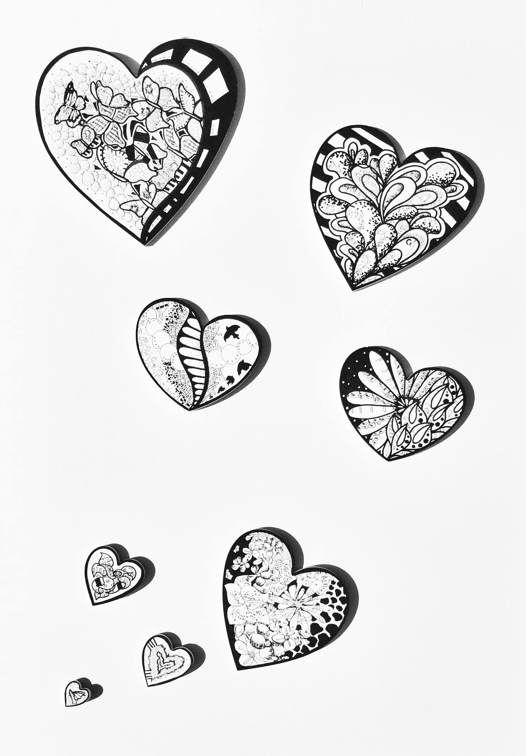 """Flock of Hearts"" Acrylic on wood 2016"