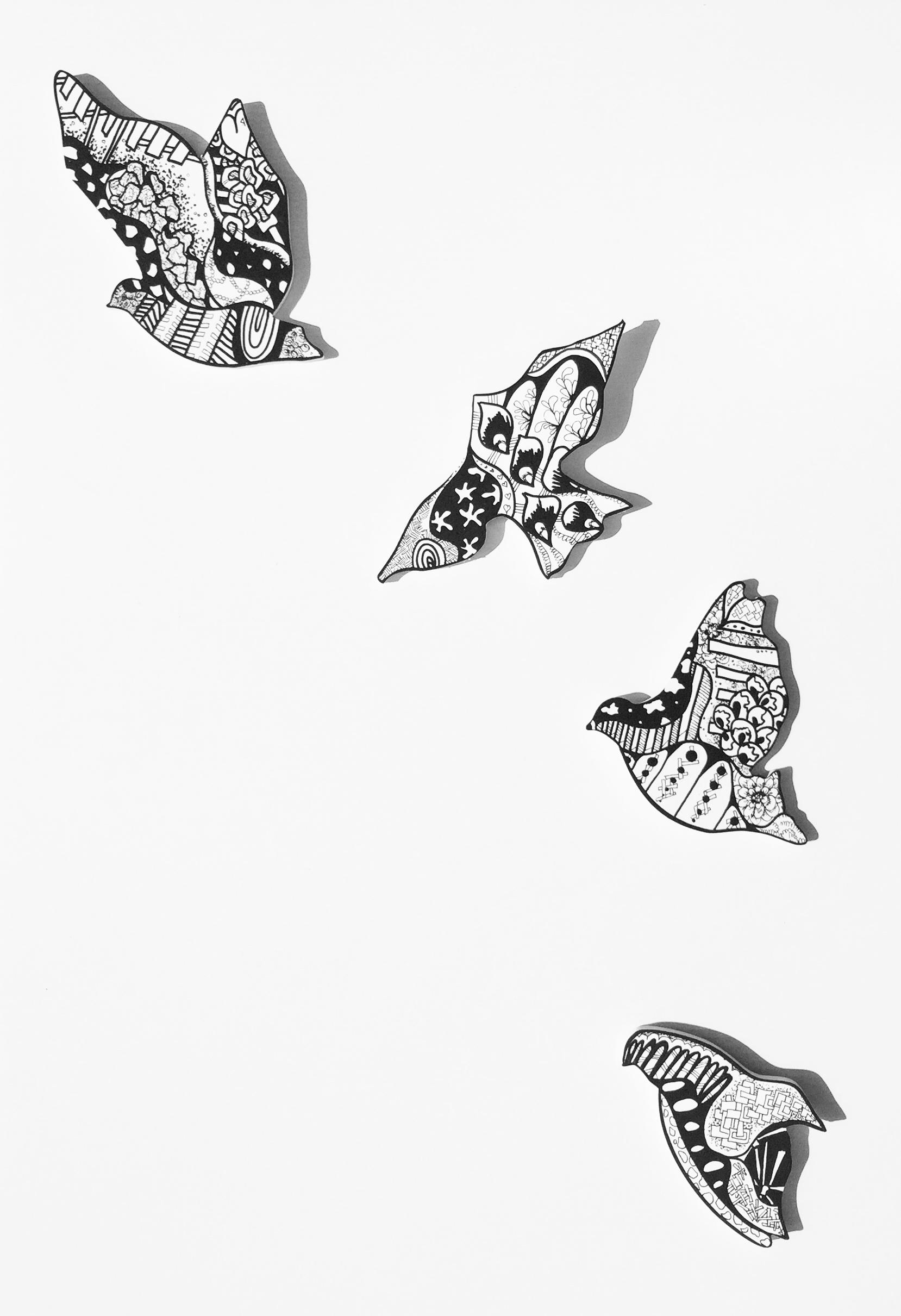 """ Birds Taking Flight"" Acrylic on wood  2016"