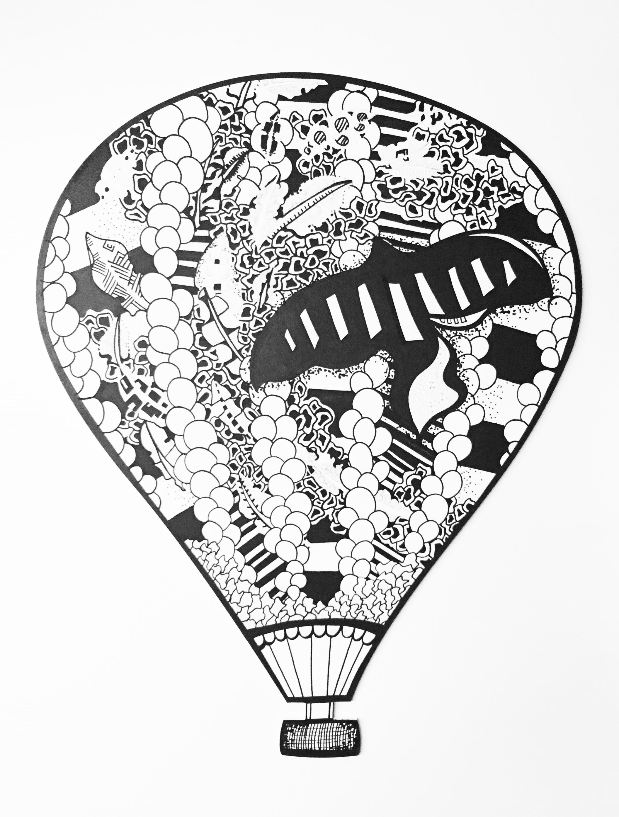 """ Hot Air Balloon""  Acrylic   on wood   2016"