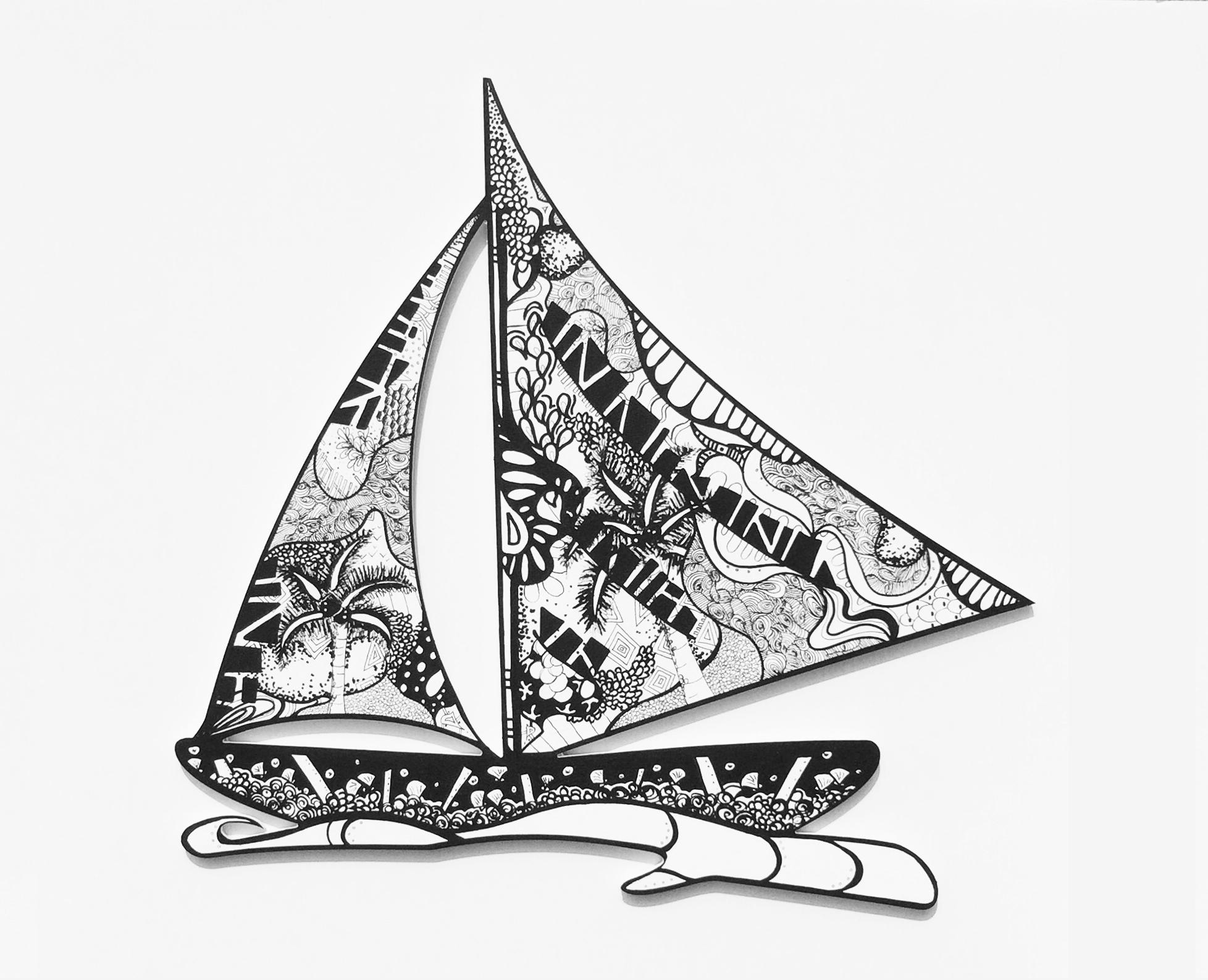 """""""Boat""""  Acrylic   on wood  2016"""