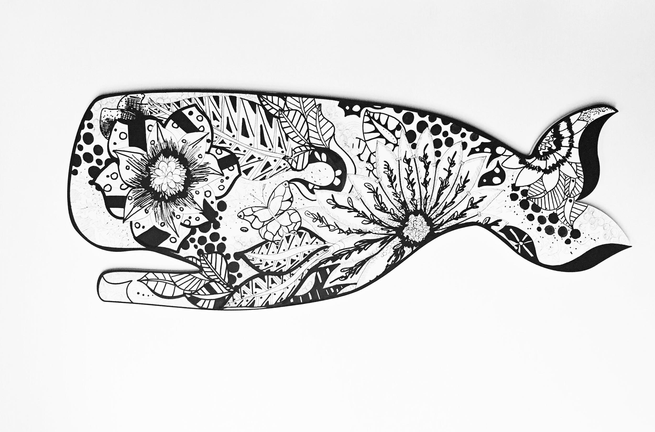 """"""" Flying Whale""""  Acrylic   on wood   2016"""