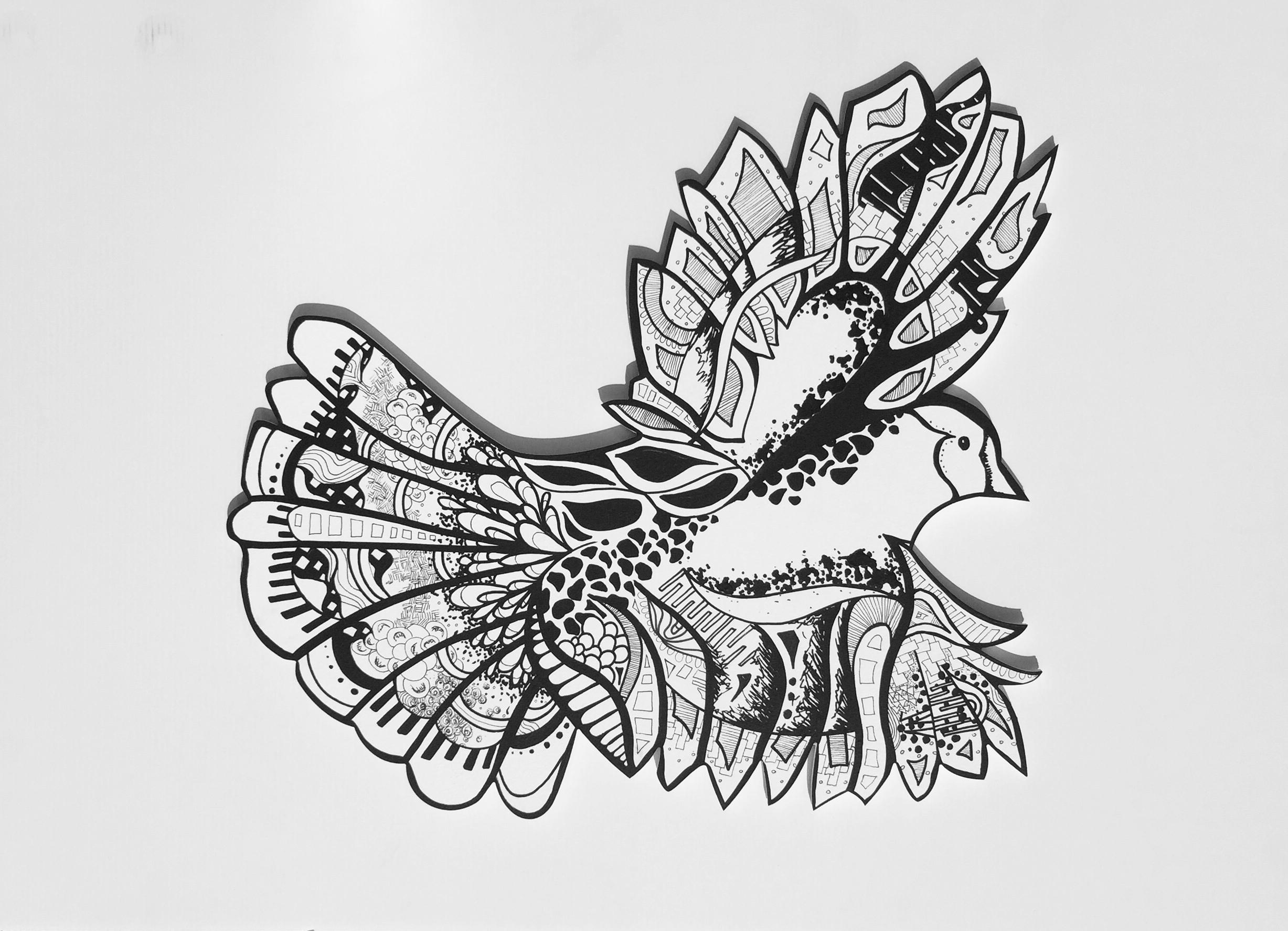 """Bird  ""   Acrylic   on wood   2016"