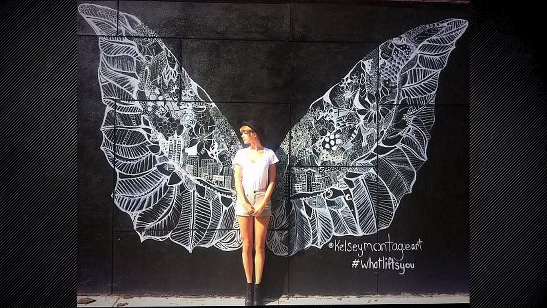 Famous American singer-songwriter   Taylor Swift in front of one of Kelsey Montague's wings murals in New York City. Taylor Swift posted this image on her own Instagram and got 900,000 Likes so far.