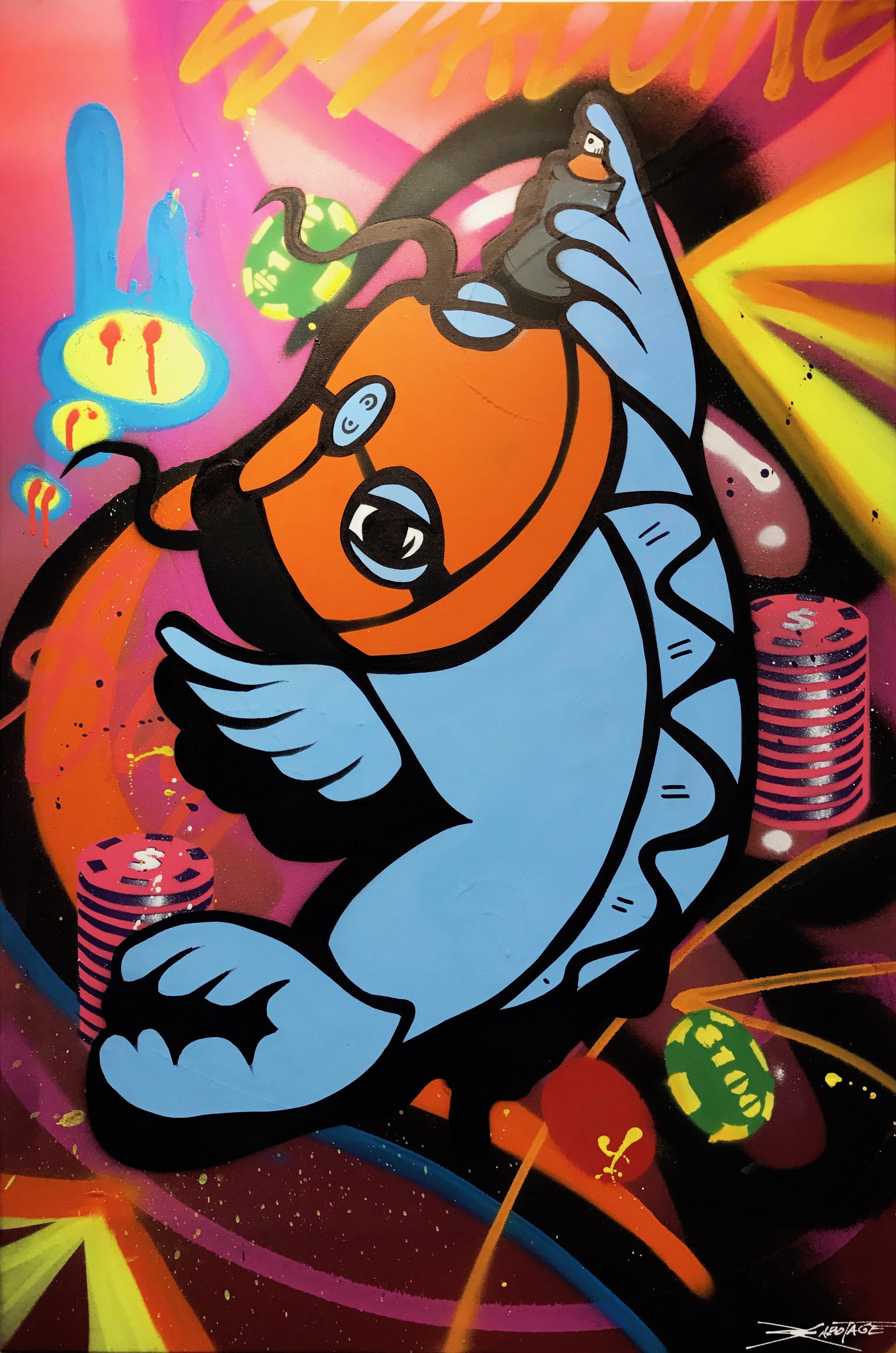 """""""Balaclava Koi Grey"""" Mixed Media Spray Paint and Graffiti Marker 60 x 90 cm 017"""