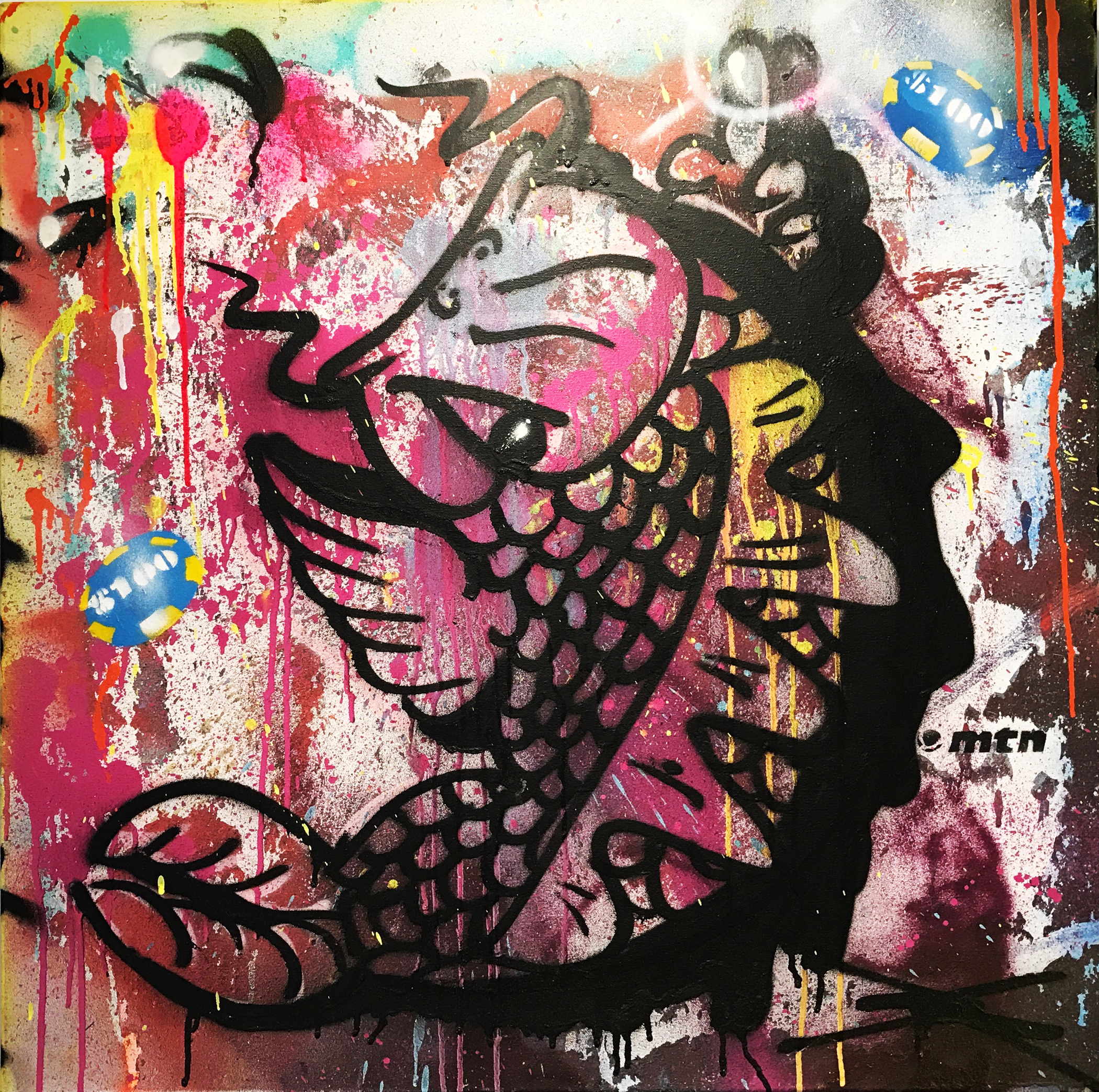 """""""Koi-D Black/Purple"""" Mixed Media Spray Paint, Stencil and Graffiti Marker 76 x 76 cm 2017"""