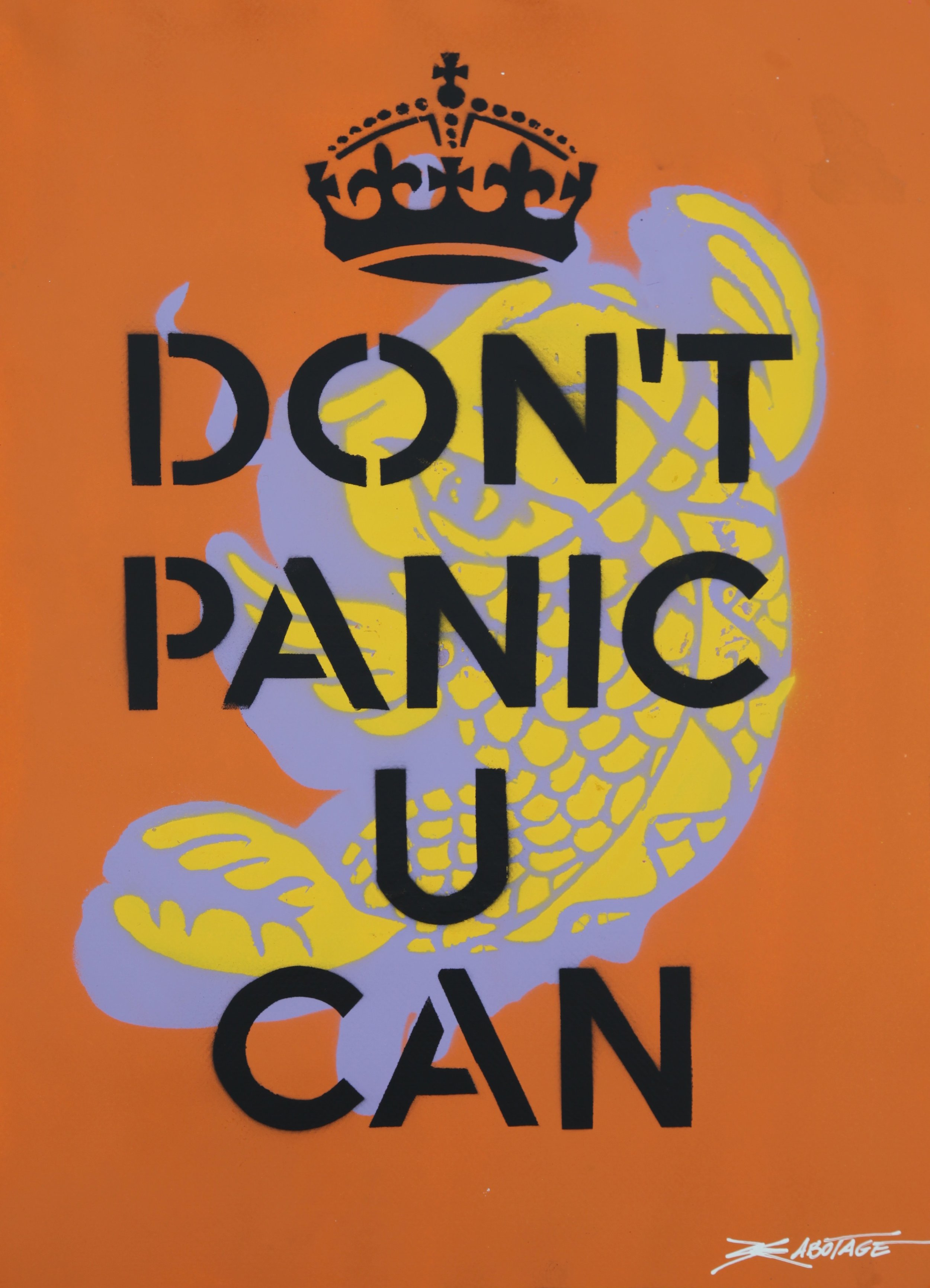 """Don`t Panic U Can Koi"" Spray Paint and Stencil 63 x 94 cm 017"