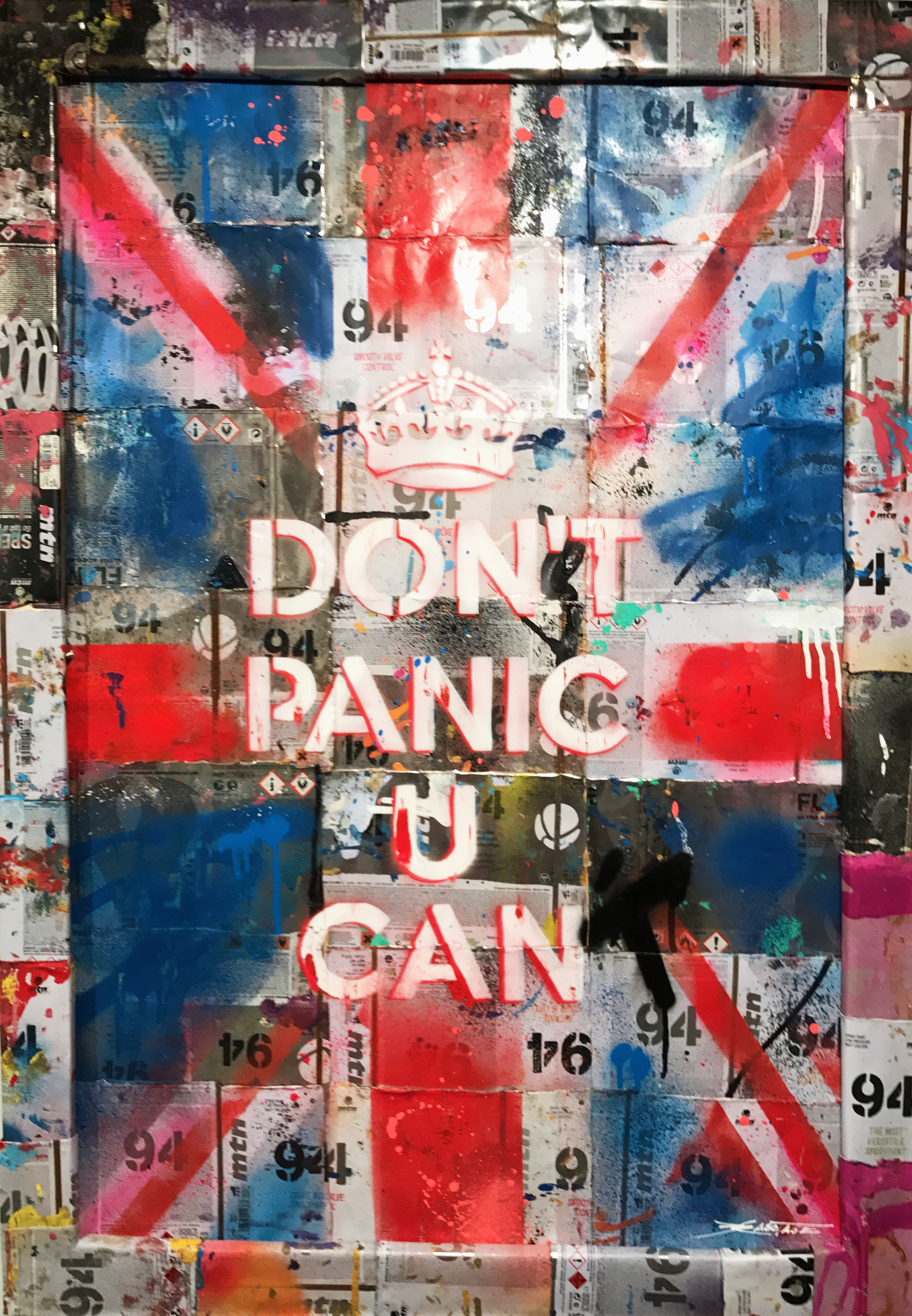 """Patriotic Panic"" Stencil and Hand Spray Paint on Deconstructed Can Background 60 x 90 cm 2017"
