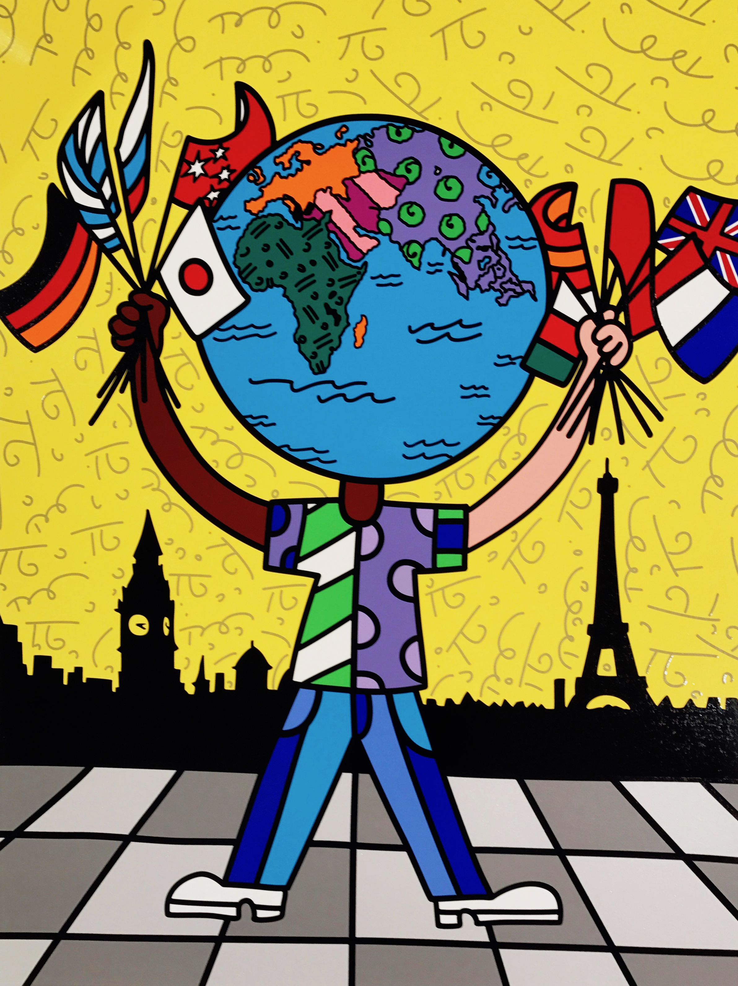 """""""Globe Generation Series – Eurasia"""" Serigraph, Limited edition, No. 27 of 50 101.6 x76.2 cm 2015"""