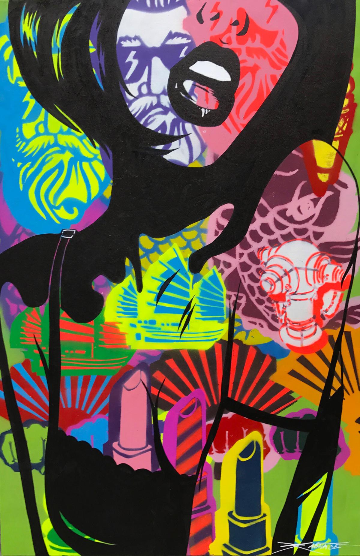 """""""The Cry"""" ixed Media Spray Paint and Graffiti Marke 60 x 90 cm 2017"""