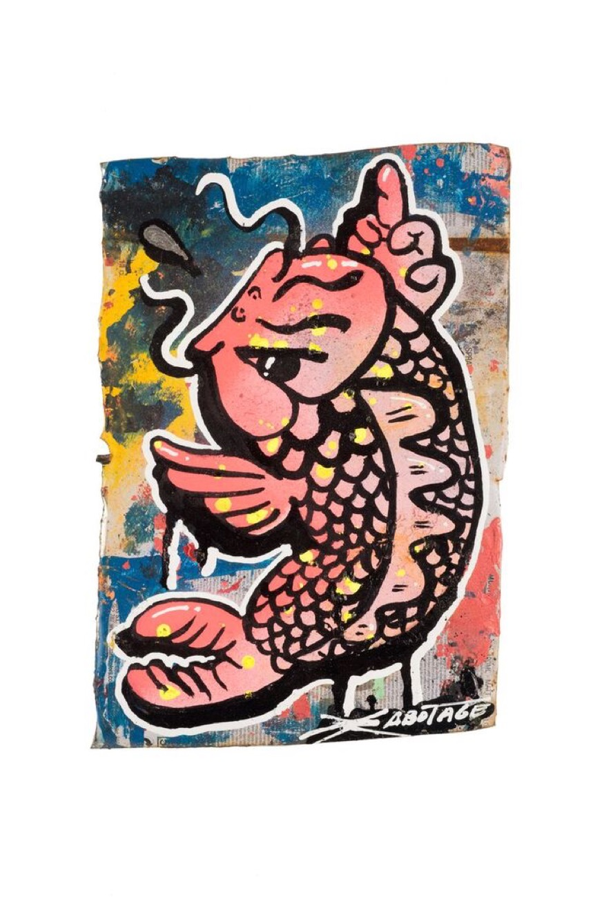 """Flipping Koi Pinky""  Mini Can Can Collection Spray paint and markers on CAN-Vas 15 x 21 cm 016"