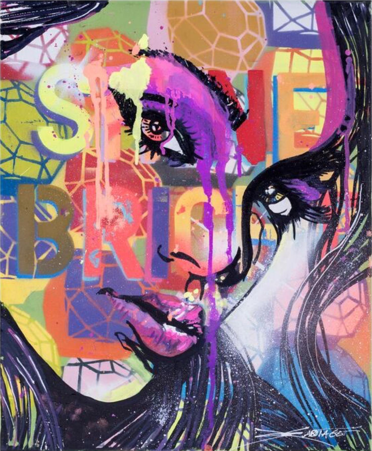 """Shine Bright""  pray Paint, Stencil, Graffiti Markers 40 x 51 cm 2017"