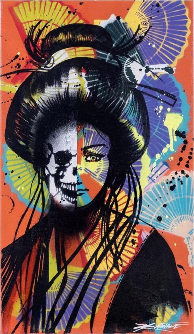 """Japanese Geisha Dreams""  Spray Paint, Stencil, Graffiti Markers 35 x 61 cm 2017"