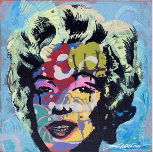 """Good To Go Monroe"" UV Ink, Spray Paint, Stencil, Graffiti Markers 35 x 35 cm 2018"