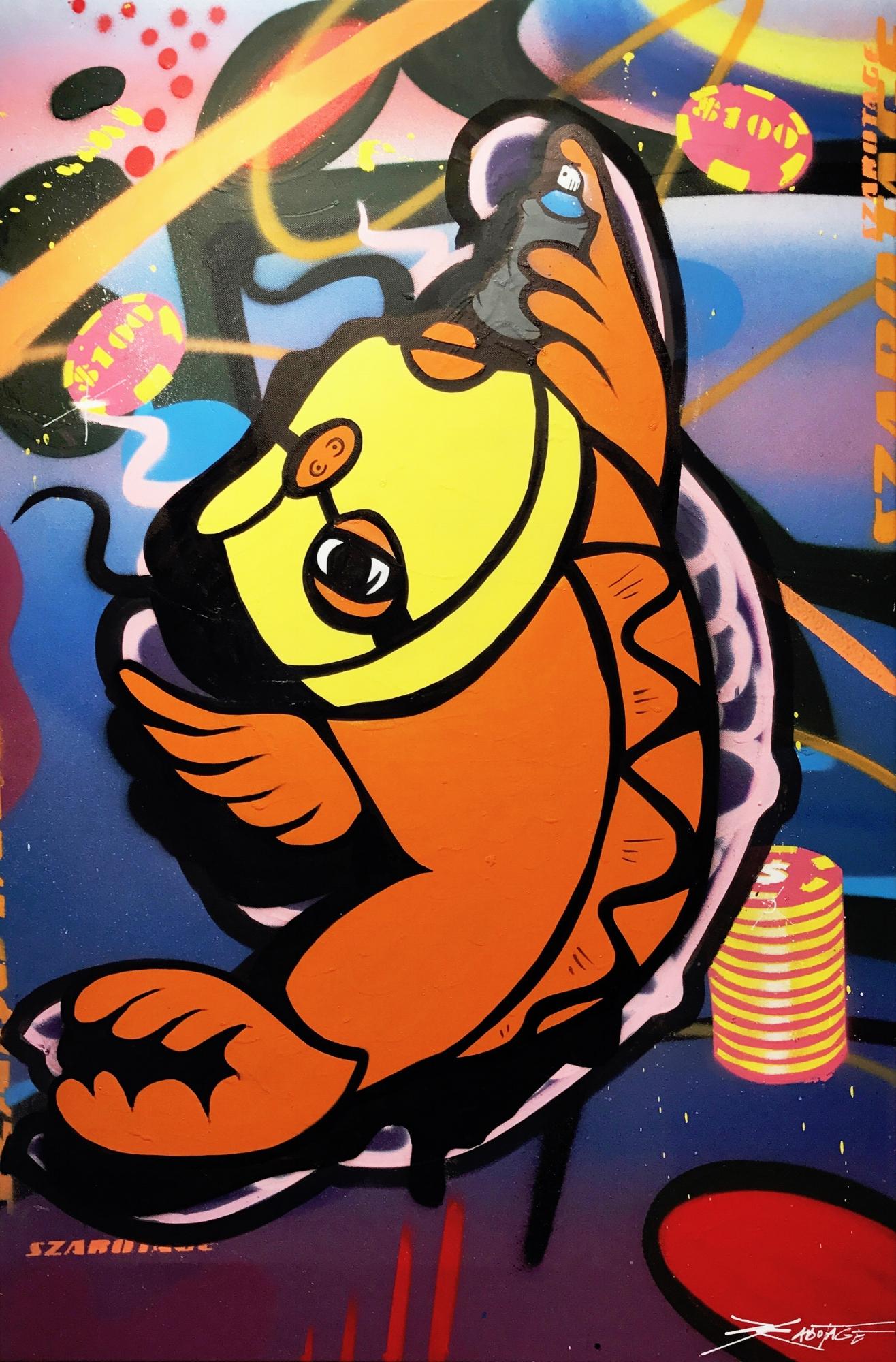 """""""Balaclava Koi Orange"""" Mixed Media Spray Paint and Graffiti Marker 60 x 90 cm 2017"""