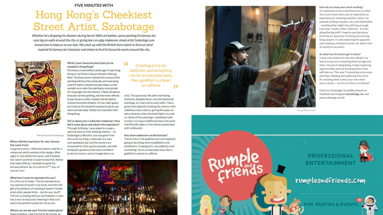 ">> Mar 2018: ""Hong Kong's Cheekiest Street Artist"" Art Supermarket's artist Szabotage interview in Localiiz Digest"
