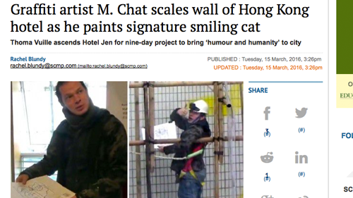 >  > 15 Mar 2016: Graffiti artist M. Chat scales wall of Hong Kong hotel as he paints signature smiling cat in SCMP